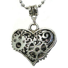 "Steampunk Gears Mechanical Puffy Heart Charm Silver Plated 24"" Necklace"