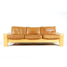 Retro Vintage Swedish Leather 3 Seat Seater Beech Sofa Scandinavian 1970s Danish