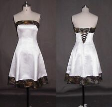 Short A-Line Camo Evening Dress Formal Camouflage Lace Up Party Prom Bridal Gown