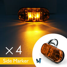 4 X AMBER 2 LED SIDE MARKER INDICATORS LIGHTS TRUCK TRAILER E-MARKED  12V 24V