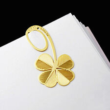 Golden Four-leaf Clover Reading Metal Clip Bookmark Fiction Magazine Book Mark