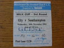 10/11/1982 Ticket: Manchester City v Southampton [Football League Cup] (Creased)