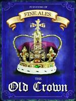 OLD CROWN TRADITIONAL ALES VINTAGE RETRO,PUB SIGN LARGE STEEL WALL PLAQUE TIN