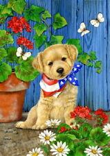 NEW TOLAND PATRIOTIC PUPPY GARDEN FLAG GOLDEN RETRIEVER DOG 12.5 X 18