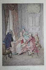 1884 Estampe originale J. A. Gonzalez La Caillette XVIIIe pour Uzanne sur Japon