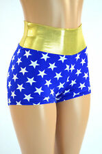 2XL High Waist Blue and White Star Super Hero Booty Shorts Ready To Ship!