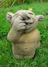 NOSE PICKING TROLL STATUE FROSTPROOF STONE 19CM H SMALL NOSE PICKER troll
