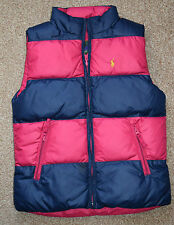 girls RALPH LAUREN POLO DOWN reversibe gilet vest jacket size M age 8-9-10 years