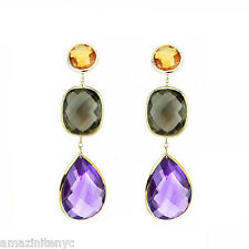 14K Yellow Gold Gemstone Earrings With Citrine, Amethyst And Smoky Topaz