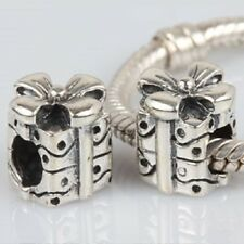PRESENT GIFT BOW 925 sterling silver Genuine charm bead fits european bracelet