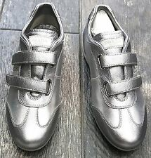 KIDS GIRLS PRADA SNEAKERS SHOES 2 STRAP SILVER SIZE EU 32 / US 1Y