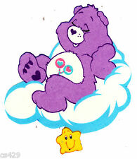 """5.5"""" CARE BEARS ON A CLOUD  FRIEND GLOW IN THE DARK FABRIC APPLIQUE IRON ON"""