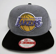 LA Lakers Grey On Black Original Fit Snapback Cap Hat by New Era