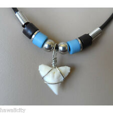 Hawaiian Blue Bead Shark Tooth Necklace from Hawaii