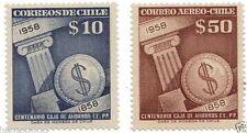 Chile 1958 #592-3 Centenario Caja de Ahorros de Empleados Publicos MNH