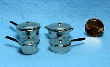 Dollhouse Miniature Complete Set of 4 Cooking Pots with Lids ~ 371