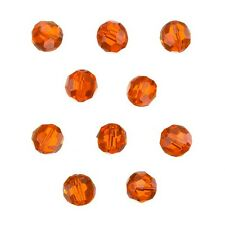 Transparent Orange 8mm Faceted Crystal Round Glass Beads Pack of 10 (C32/3)