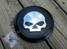 Black w/Chrome Skull 3 Hole Derby Cover Big Twin Harley Davidson 1970 to 1999