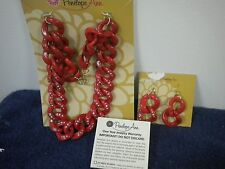 PENELOPE ANN RED PLASTIC  CHAIN LINK NECKLACE MATCHING EARRINGS SET NEW