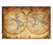 120x80cm Leinwandbild auf Keilrahmen Vintage Weltkarte von 1733