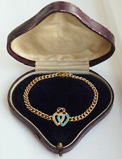 Antique Victorian 15ct Gold Turquoise & Pearl set Entwined Hearts Bracelet c1900