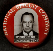 1950s NABISCO EMPLOYEE PHOTO ID BADGE SURLY BOSS MAN HATES COOKIES~
