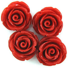 4 20mm synthetic coral carved rose flower pendant bead red