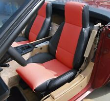 CHEVY CORVETTE C4 TYPE3 1984-1993 BLACK/RED S.LEATHER CUSTOM FIT SEAT COVER