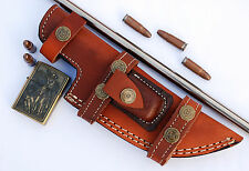 Custom Handmade Horizontal Left Hand Tracker Knife Leather Sheath Brown S6