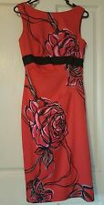New Divine KAREN MILLEN Red & Black Rose Dress Size Us 6 Uk 10 Eu 38 RRP$400+