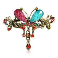 Fashion Women Vintage Turquoise Butterfly Hair Barrettes Crystal Bow Hair Clips