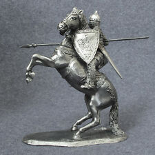 Medieval 1/32 Equestrian Knight with Spear Metal Horse Rider Toy Soldier 54mm