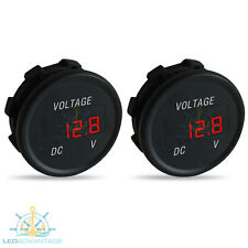 2 X 12V MARINE RECESSED COMPACT DASHBOARD BOAT BATTERY GAUGE DIGITAL VOLTMETER