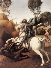 Oil painting Raphael - st george killing the dragon on white horse no framed art