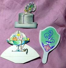 3 MINIATURE 1920'S DIE CUTS, PLACE CARDS? GREAT DOLL ACCESSORIES OR FOR CRAFTS