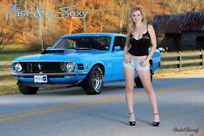 1970 Ford Mustang Boss 429 Fast & Sexy Poster - Hot Girls and Muscle Cars