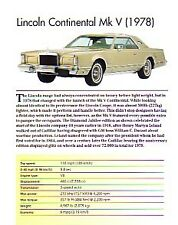 1978 Lincoln Continental Mark V Article - Must See !!