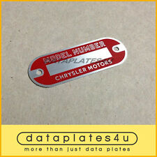 CHRYSLER MODEL NUMBER DATA PLATE PLYMOUTH DODGE DESOTO MOTORS ID TAG
