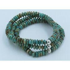 3 Strand .925 Sterling Silver Natural Green Kingman Turquoise Stretch Bracelet