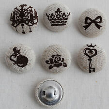 6 Linen Fabric Covered Sewing Buttons Retro Crown Rose