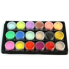 18 Mix di colori Polvere ACRILICA SET per NAIL ART Finte French TIPS ARTIST