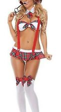 Sexy Naughty Schoolgirl Outfit Lingerie Costume Bra Panty Plaid Mini Skirt OS