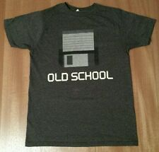 Old School Computers Gamers Floppy Disk Drive Retro Throw Back Style T-Shirt M