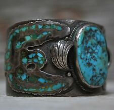 Early Navajo Native American Eagle Turquoise Inlay Sterling Silver Cuff Bracelet