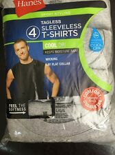 New Mens Hanes 4-pack Gray Large Sleeveless Sport Styling Cool Dri T-Shirts