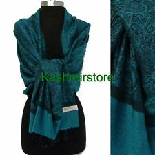 Pashmina Paisley Floral Silk Wool Scarf Wrap Shawl Soft Classic Turquoise/black