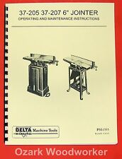 """DELTA-Milwaukee 6"""" Short Bed Jointer 37-205, 37-207 Owner's & Parts Manual 0209"""