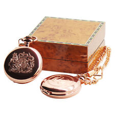 BRITISH COAT OF ARMS 18k Rose Gold Clad Royal Crest Pocket Watch CUSTOM Engraved