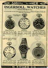 1924 PAPER AD Ingersoll Pocket Watch Waterbury Radiolite Wrist Leonard Radium
