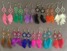 5 pairs dream catcher thread feather earrings small Peruvian alpaca silver